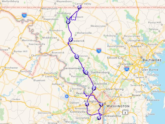 Route Alexandria-Pennsylvania & retour